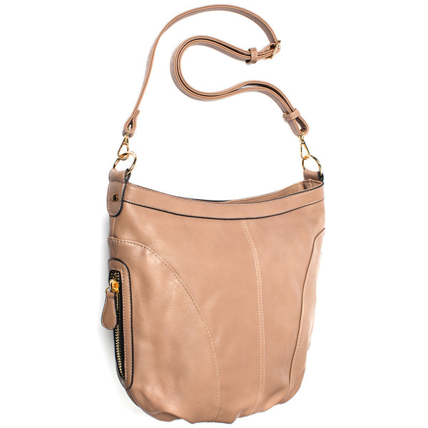 Taupe Extra Large Sling Crossbody Bag - Citi Trends Accessories - Side