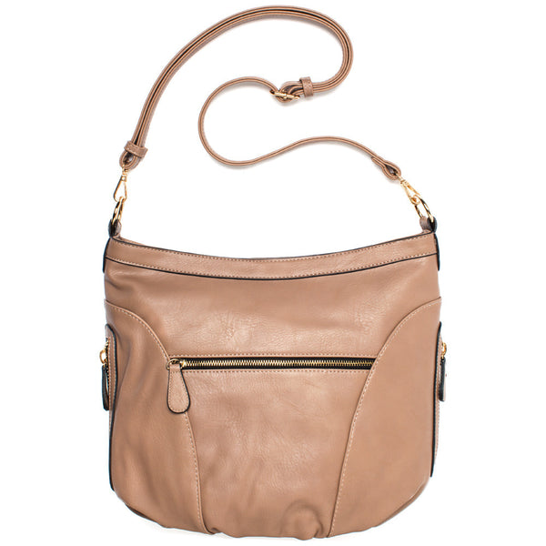 Taupe Extra Large Sling Crossbody Bag - Citi Trends Accessories - Back