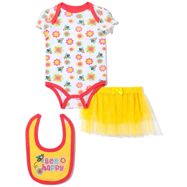 "3-Piece Yellow ""Bee Happy"" Creeper Set with Skirt and Bib - Citi Trends - Baby - Front"