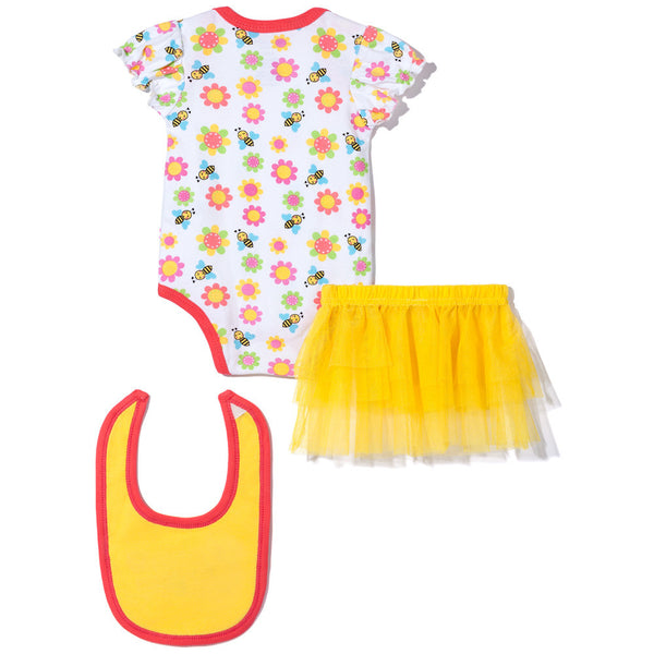 "3-Piece Yellow ""Bee Happy"" Creeper Set with Skirt and Bib - Citi Trends - Baby - Back"