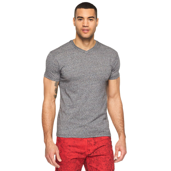 Back To Basics Black Marled V-Neck Tee - Citi Trends Mens - Front