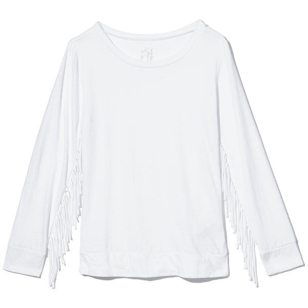 White Long-Sleeve Shirt With Fringe Trim Sleeves - Citi Trends Girls - Front