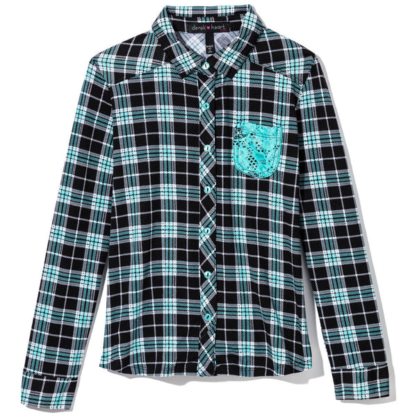 Checkmate Girls Aqua/Black Plaid Knit Button-Up - Citi Trends Girls - Front