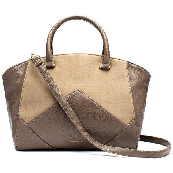 Olivia + Joy Taupe Faux Leather and Tan Suede Mix Media Satchel - Citi Trends Accessories - Front