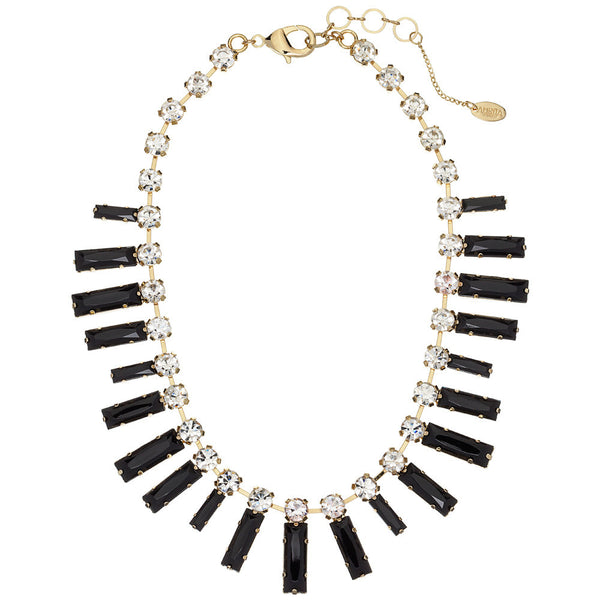 Amrita Singh Black Rectangular Resin Stone Necklace with Round Crystal Accents - Citi Trends - Accessories