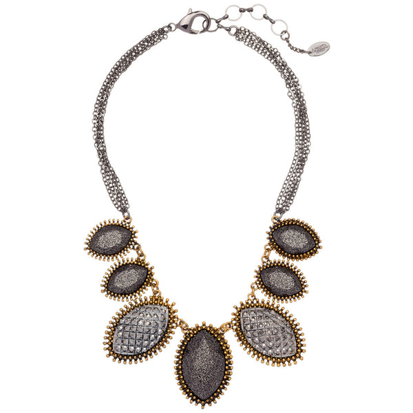 Amrita Singh Gunmetal and Gold Mixed-Metal Stone Bib Necklace with Resin Details - Citi Trends - Accessories