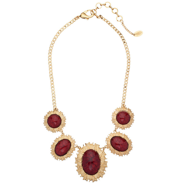 Amrita Singh Ruby & Gold Stone Bib Necklace - Citi Trends - Accessories