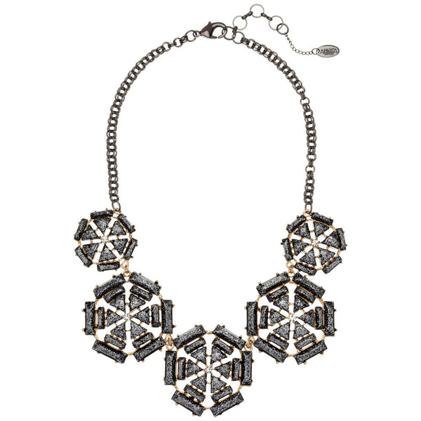 Amrita Singh Metallic Gunmetal Bib Necklace with Faceted Resin Stone - Citi Trends - Accessories