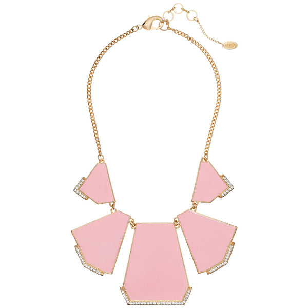 Amrita Singh Pink Geometric Enamel Necklace with Crystals and Gold Link-Chain - Citi Trends - Accessories