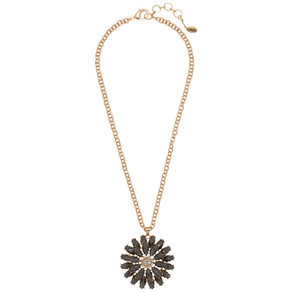 Amrita Singh Resin Daisy Pendant Necklace with Crystals and Gold Link-Chain - Citi Trends - Accessories