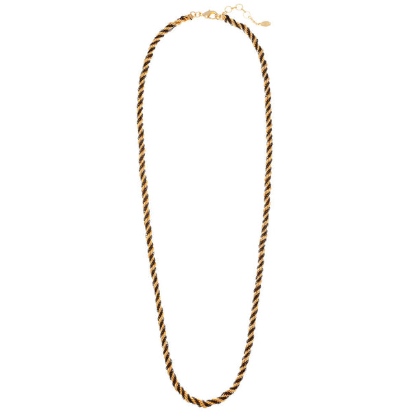 Amrita Singh Black & Gold Twisted Long Chain Necklace - Citi Trends - Accessories