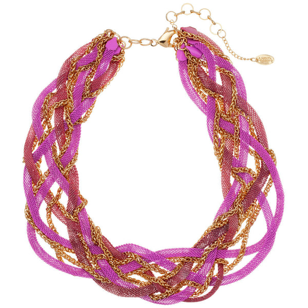 Amrita Singh Braided Gold Chain and Pink Mesh Metal Necklace - Citi Trends - Accessories