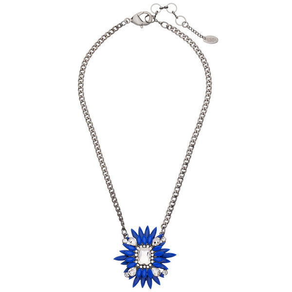 Amrita Singh Blue Resin and Crystal Rockstar Pendant Necklace with Silver Link-Chain - Citi Trends - Accessories