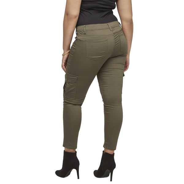 Stretch Back And Relax Olive Cargo Skinny Pant - Citi Trends Plus and Ladies - Back