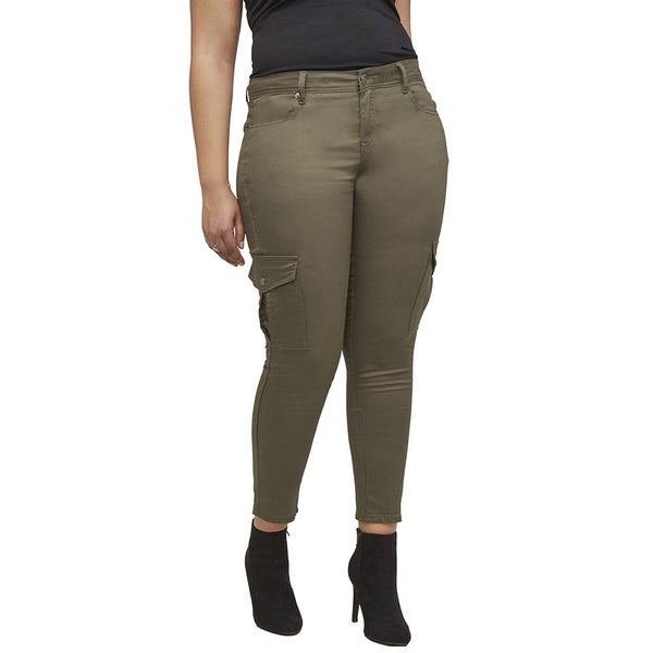 Stretch Back And Relax Olive Cargo Skinny Pant - Citi Trends Plus and Ladies - Front