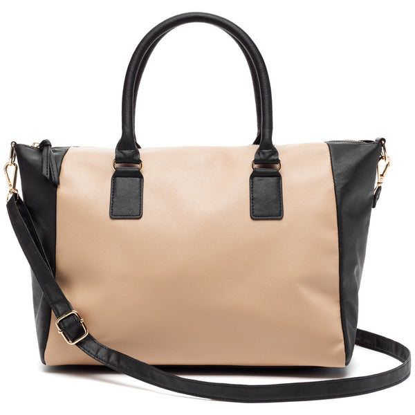 Travel On Trend Tan/Black Satchel - Citi Trends Accessories - Front