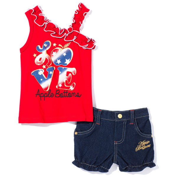 Apple Of My Eye Girls Red Bubble Short Set - Citi Trends Girls - Front