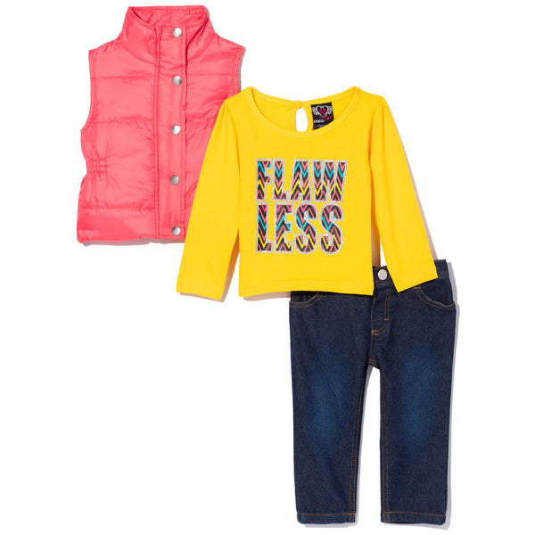 Feeling Flawless Girls 3-Piece Puffer Vest Set - Citi Trends Girls - Front
