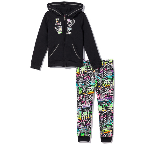 Color Craze Girls 2-Piece Aztec Print Fleece Jogger Set - Citi Trends Girls - Front