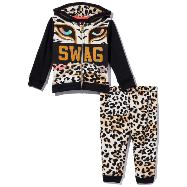 Purr-Fect Swag Girls 2-Piece Leopard Print Fleece Jogger Set - Citi Trends Girls - Front