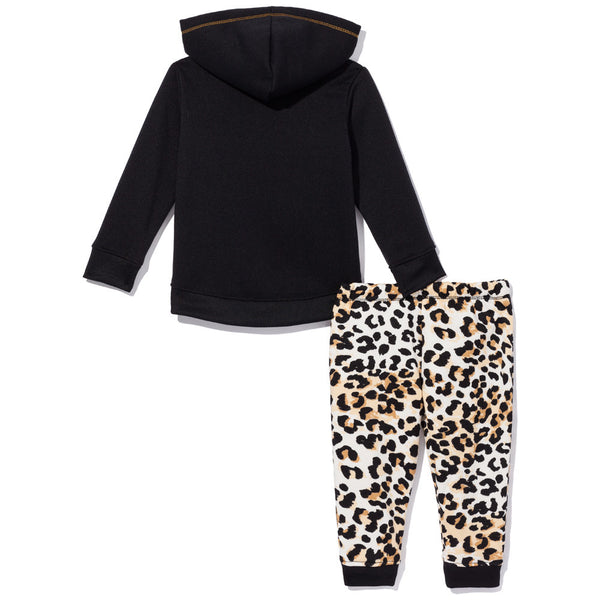 Purr-Fect Swag Girls 2-Piece Leopard Print Fleece Jogger Set - Citi Trends Girls - Back