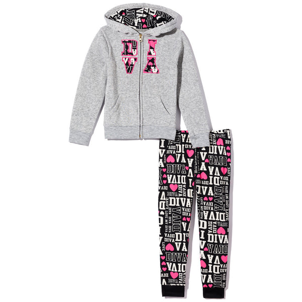 All-Around Diva Girls 2-Piece Fleece Jogger Set - Citi Trends Girls - Front
