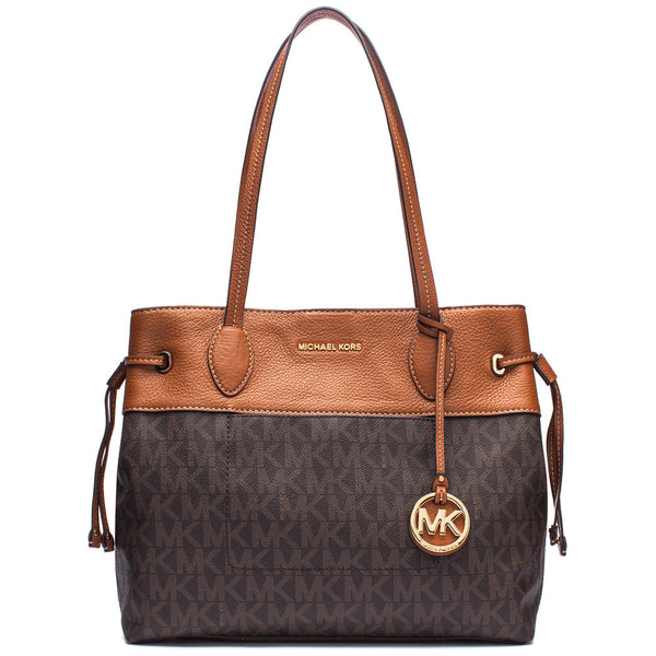 MICHAEL Michael Kors Brown Two-Tone Signature Logo Print Large Drawstring Tote - Citi Trends Accessories - Front