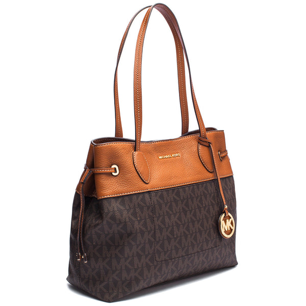 MICHAEL Michael Kors Brown Two-Tone Signature Logo Print Large Drawstring Tote - Citi Trends Accessories - Side