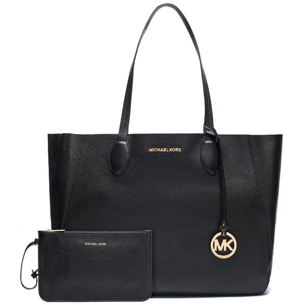 MICHAEL Michael Kors Black and Gold Large Reversible Tote with Detachable Zip Pouch - Citi Trends Accessories - Front