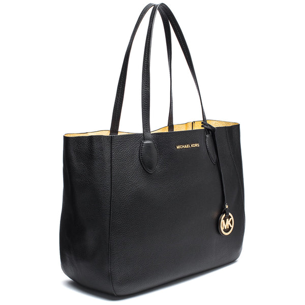 MICHAEL Michael Kors Black and Gold Large Reversible Tote with Detachable Zip Pouch - Citi Trends Accessories - Side