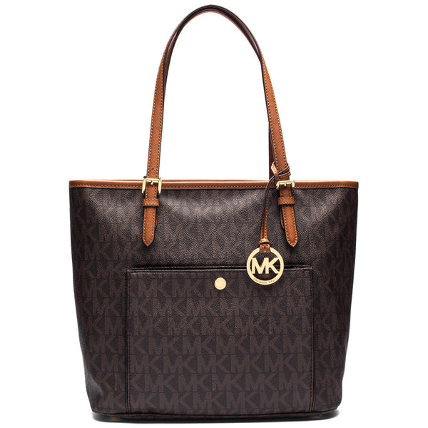 MICHAEL Michael Kors Brown Medium Snap Pocket Logo Tote - Citi Trends Accessories - Front