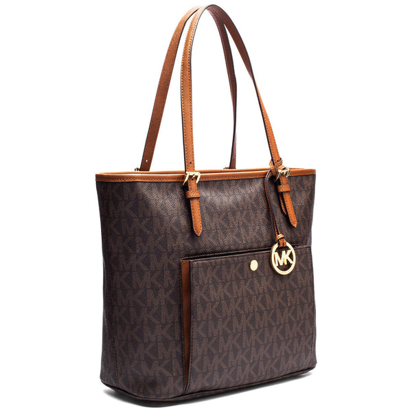 MICHAEL Michael Kors Brown Medium Snap Pocket Logo Tote - Citi Trends Accessories - Side