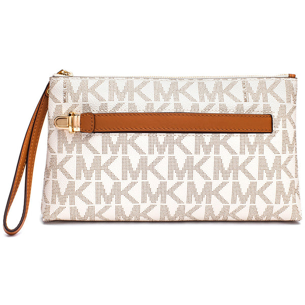 MICHAEL Michael Kors Vanilla Signature Logo Print Medium Wristlet With Hand Strap - Citi Trends Accessories - Front