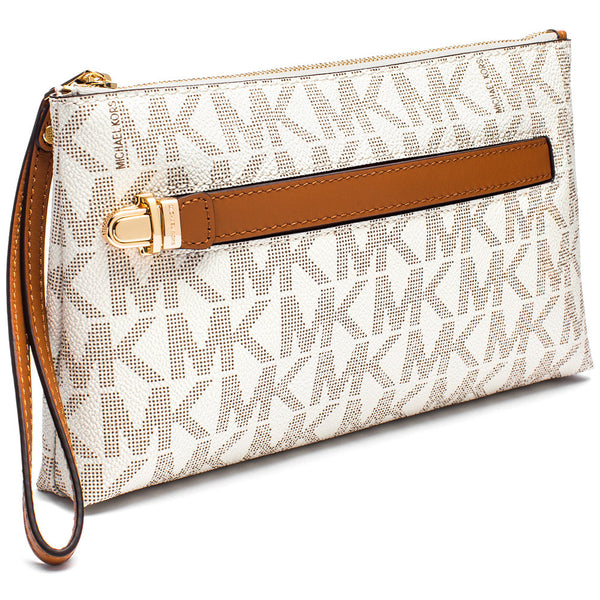 MICHAEL Michael Kors Vanilla Signature Logo Print Medium Wristlet With Hand Strap - Citi Trends Accessories - Side