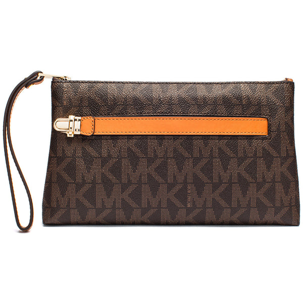 MICHAEL Michael Kors Brown Signature Logo Print Medium Wristlet With Hand Strap - Citi Trends Accessories - Front