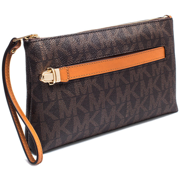 MICHAEL Michael Kors Brown Signature Logo Print Medium Wristlet With Hand Strap - Citi Trends Accessories - Side