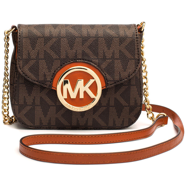 MICHAEL Michael Kors Brown Signature Logo Print Small Fold-Over Crossbody With Gold Chain Strap - Citi Trends Accessories - Front