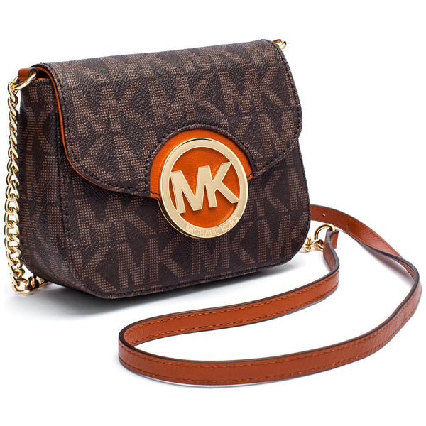 MICHAEL Michael Kors Brown Signature Logo Print Small Fold-Over Crossbody With Gold Chain Strap - Citi Trends Accessories - Side