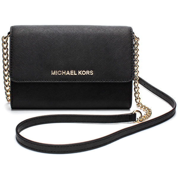 MICHAEL Michael Kors Black Fold-Over Small Crossbody with Gold Chain Strap - Citi Trends Accessories - Front