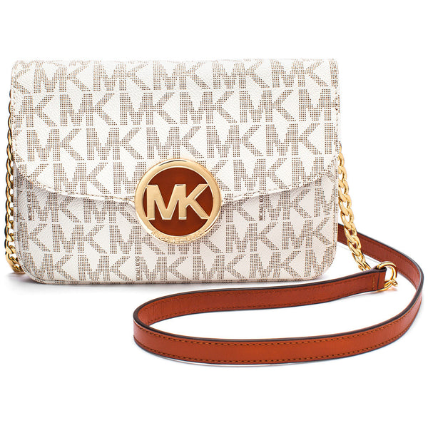 MICHAEL Michael Kors Vanilla Logo Print Fold-Over Crossbody with Gold Chain Strap - Citi Trends Accessories - Front