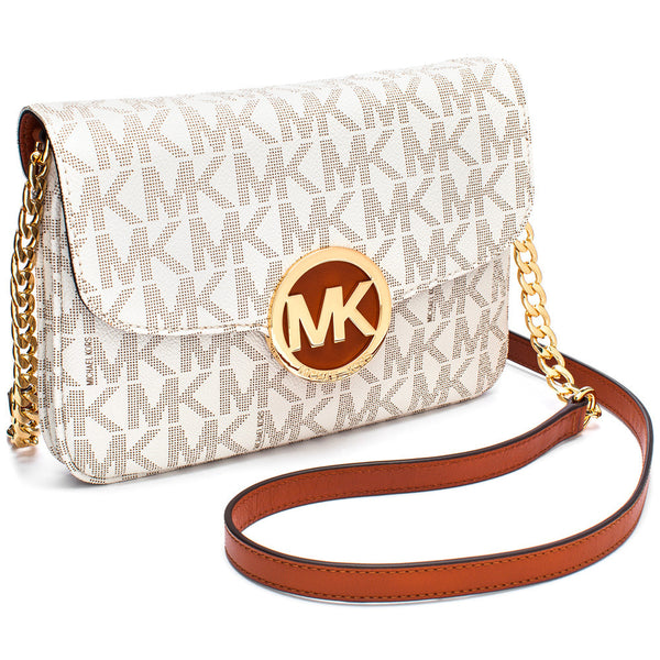 MICHAEL Michael Kors Vanilla Logo Print Fold-Over Crossbody with Gold Chain Strap - Citi Trends Accessories - Side