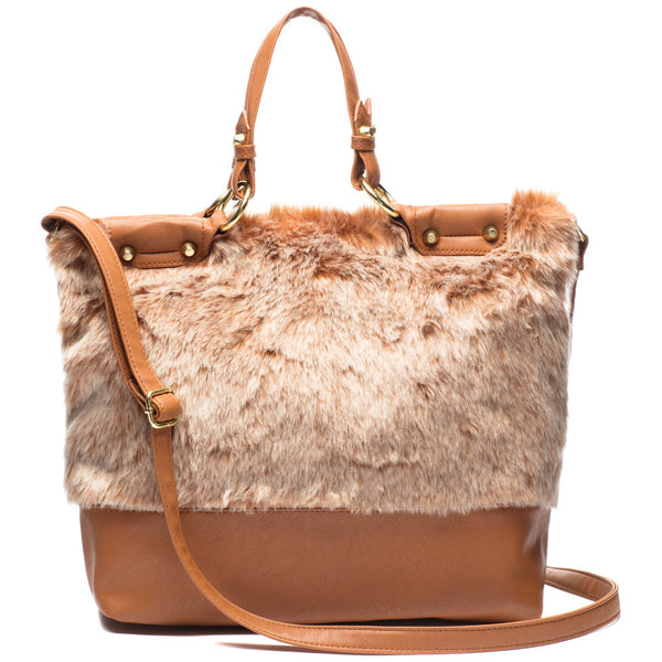 The Plush Life Tan Faux Fur Tote - Citi Trends Accessories - Front