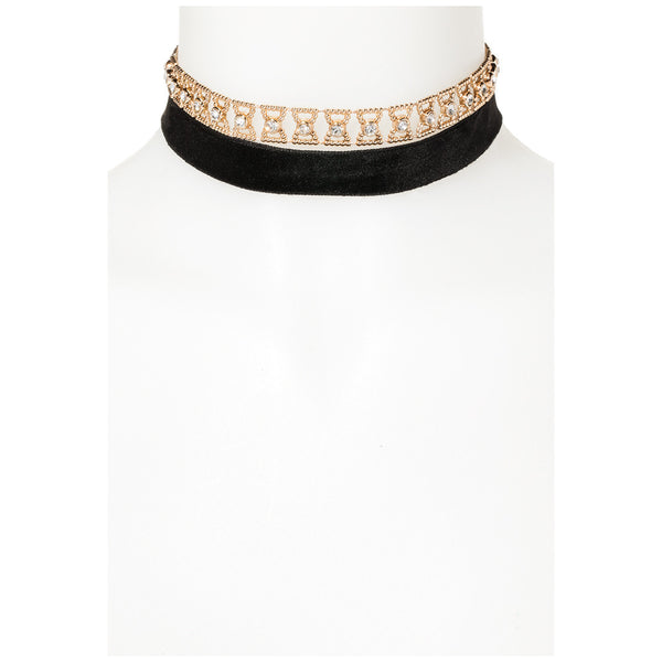 All Tied Up Gold/Black Bow Choker - Citi Trends Accessories - FRONT