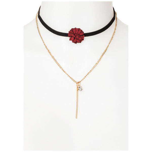 Black Suede Red Flower Choker and Gold Chain Necklace Set - Citi Trends Accessories - Front