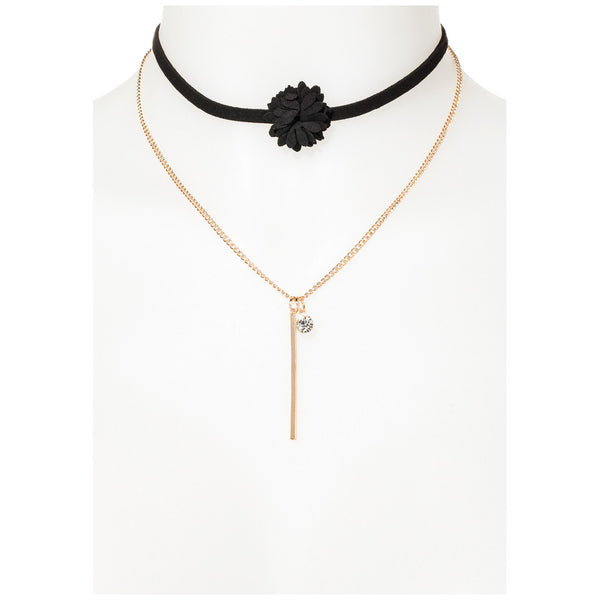 Black Suede Flower Choker and Gold Chain Necklace Set - Citi Trends Accessories - Front