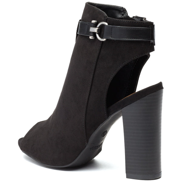 Black Faux Suede Peep-Toe Bootie - Citi Trends Shoes - Back
