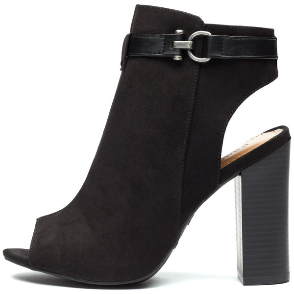 Black Faux Suede Peep-Toe Bootie - Citi Trends Shoes - Side
