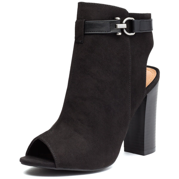 Black Faux Suede Peep-Toe Bootie - Citi Trends Shoes - Front