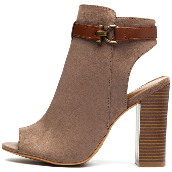 Taupe Faux Suede Peep-Toe Bootie - Citi Trends Shoes - Side