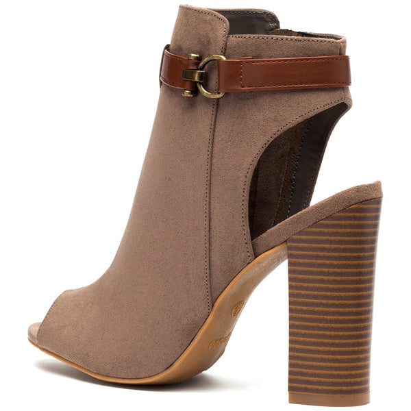 Taupe Faux Suede Peep-Toe Bootie - Citi Trends Shoes - Back